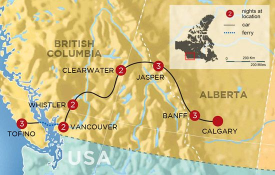 West Of Canada Map.Best Of The Rockies And West Coast Family Adventure Map Dream