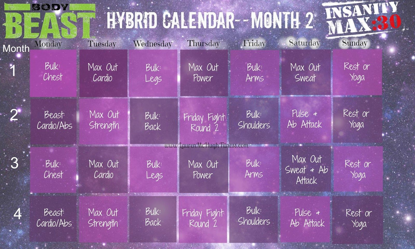New Workout Schedule Insanity Max 30 Amp Body Beast Hybrid