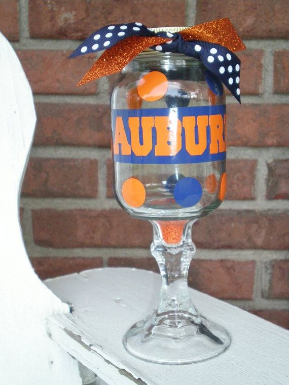 mason jar on a stem with auburn decal and orange beads inside stem cricuit machine tips and. Black Bedroom Furniture Sets. Home Design Ideas