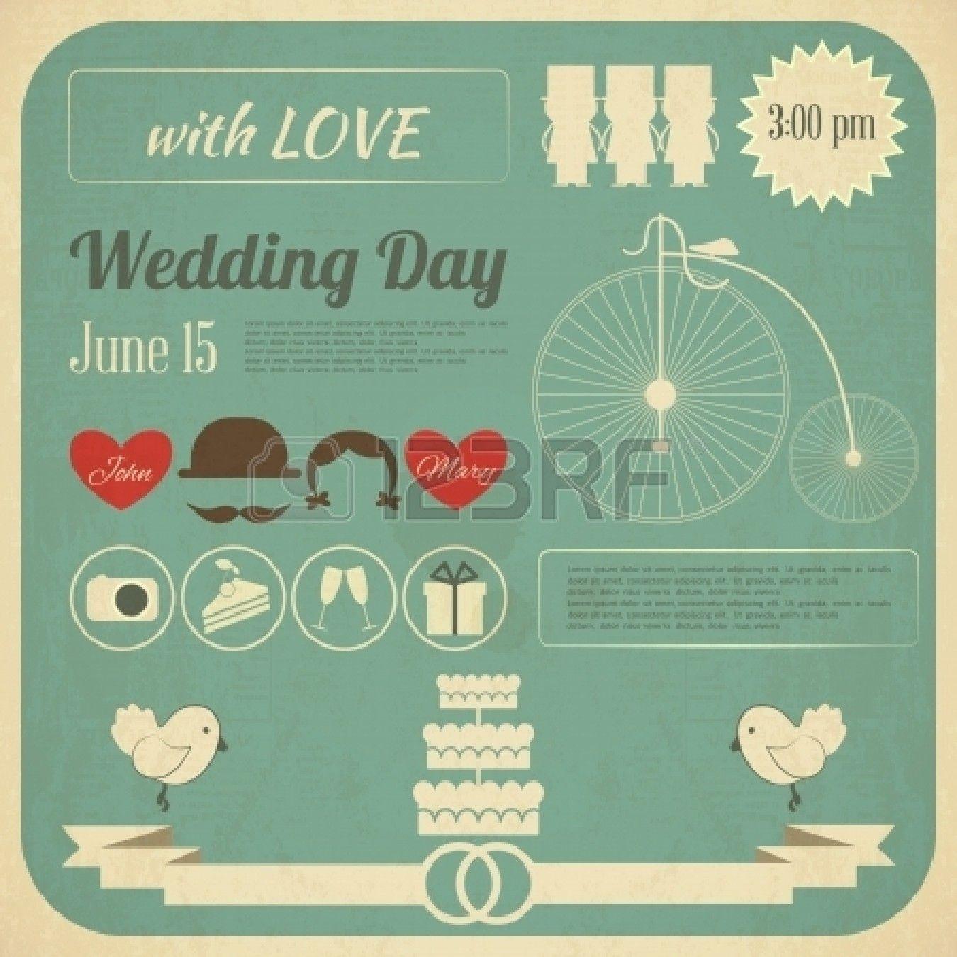 Wedding Invitation Card In Retro Infographics Style Vintage Invitation Cards Wedding Invitation Cards Wedding Invitations
