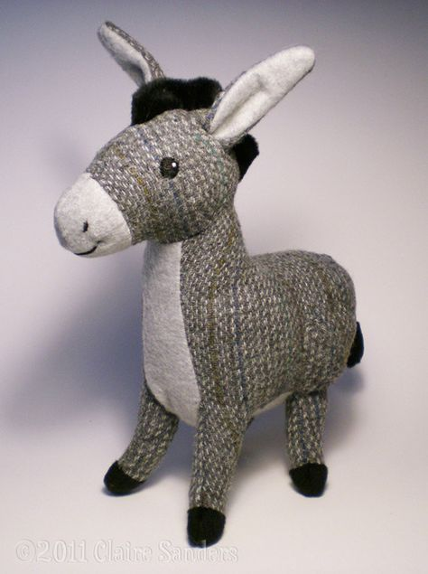 Grey+Tweed+Donkey+Soft+Toy+by+FluffEngine+on+Etsy,+$40.00