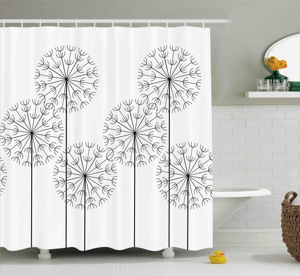 Digital Flower Dandelion Shower Curtain Nature Artwork Floral