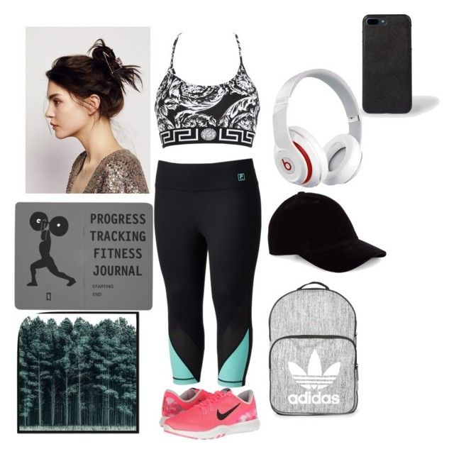 """Gym time😉👌💪"" by nati-sandoval ❤ liked on Polyvore featuring Fila, Versace, NIKE, Topshop, Le Amonie, Beats by Dr. Dre, Free People, West Elm and plus size clothing"