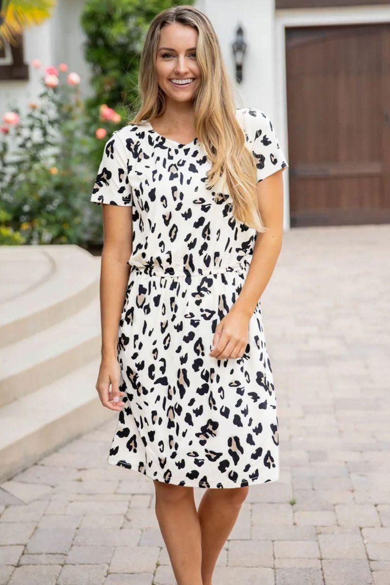 Dress Dresses White Leopard Black Peplum Bell Bow Women Woman Fashion Summer Sun Sundress B Casual Tunic Dress Casual Tunics Leopard Print Dress [ 1200 x 801 Pixel ]