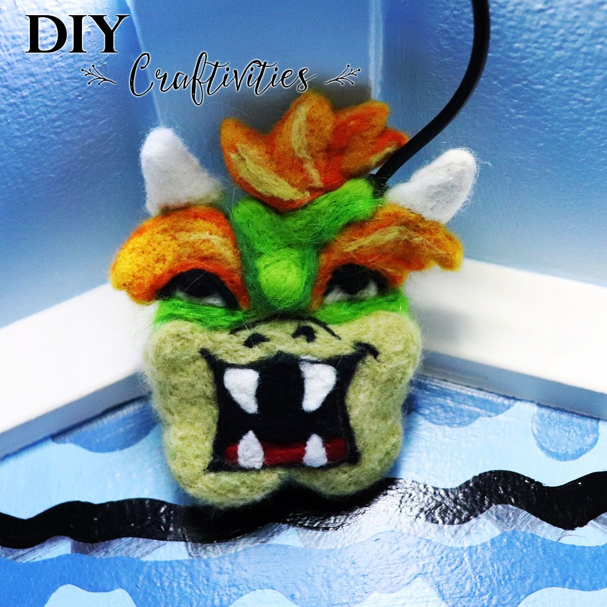 01efa93b2 Needle Felted Wool Mario Bowser. This handmade Nintendo icon is hiding some  LED wires in our Mario themed playroom. #needlefelting #needlefelted # felting ...