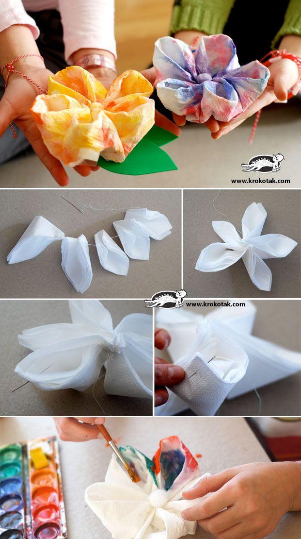 Paper Napkin Flowers Paper Kids Craft Paper Flowers Paper