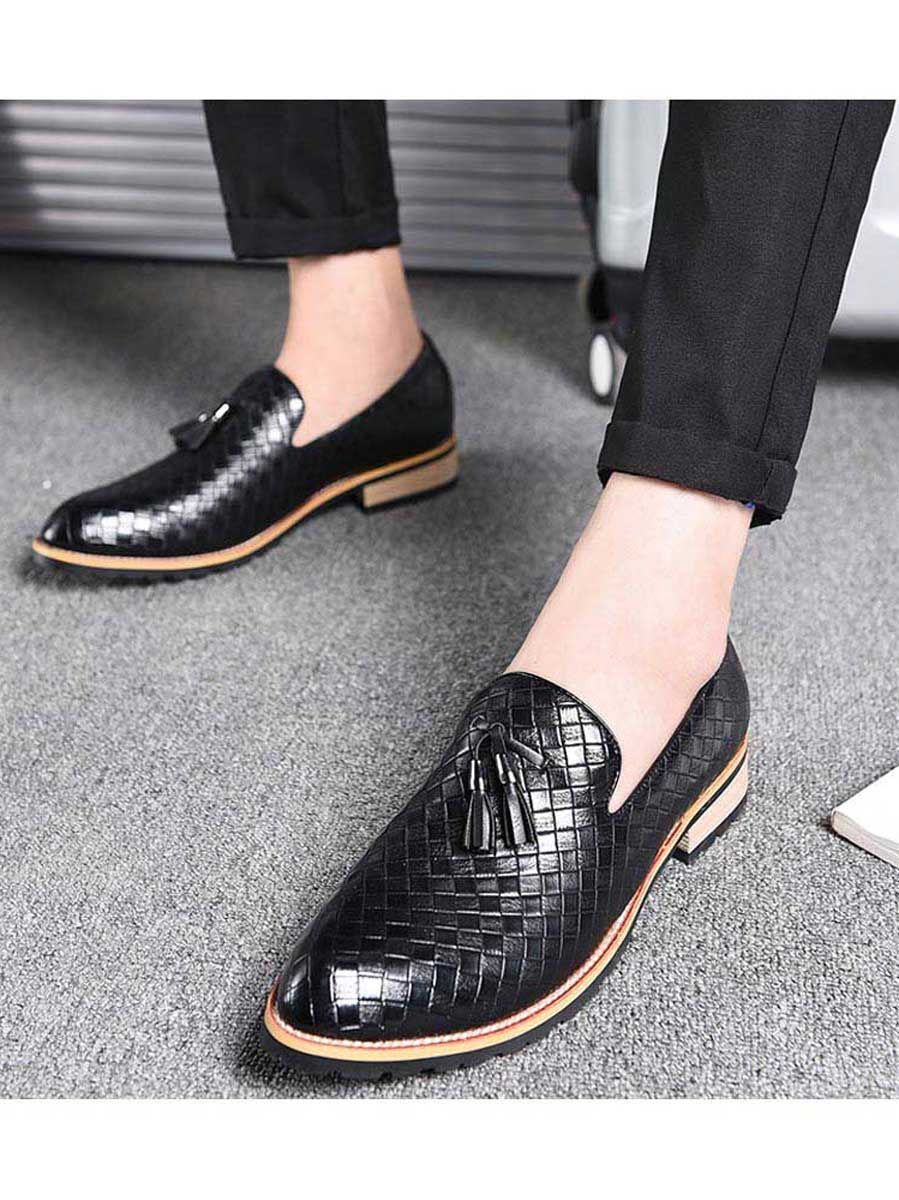 korean Mens Oxford buckle loafer pointy toe comfort formal casual Dress Shoes