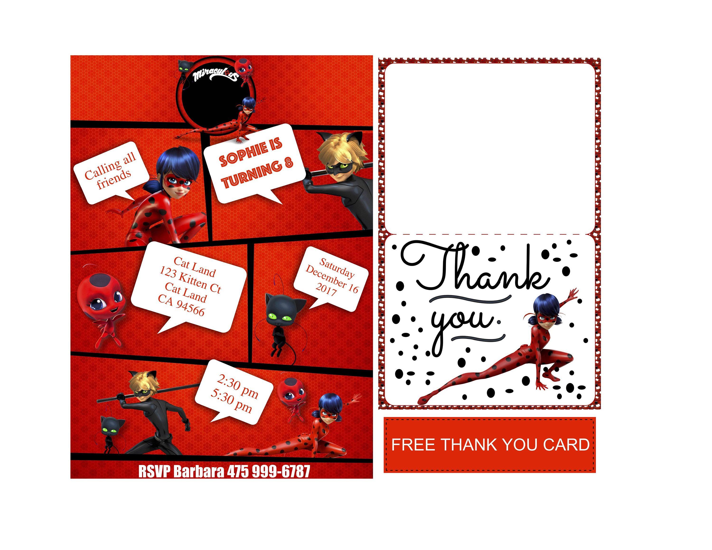 Miraculous Ladybug Invitation | Ladybug and Super Cat | Miraculous ...