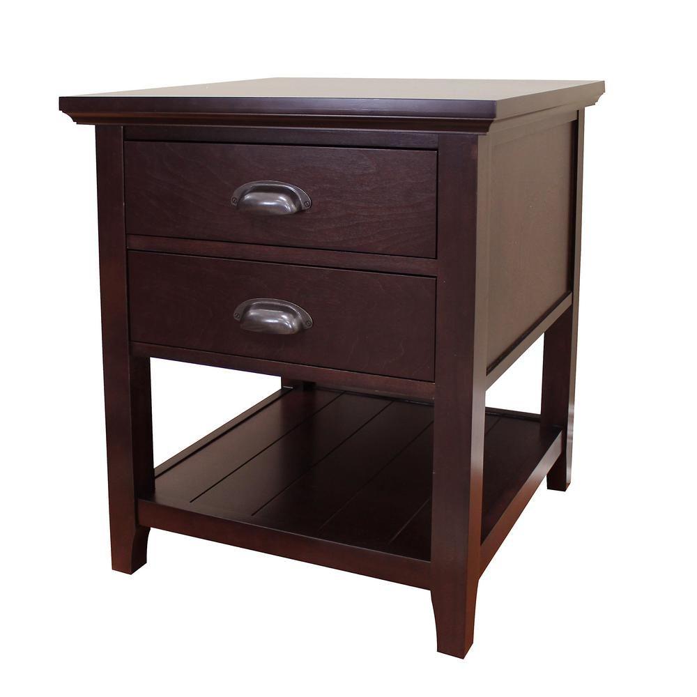 Donnieann Lindendale 2 Drawer Espresso End Table 705070 End