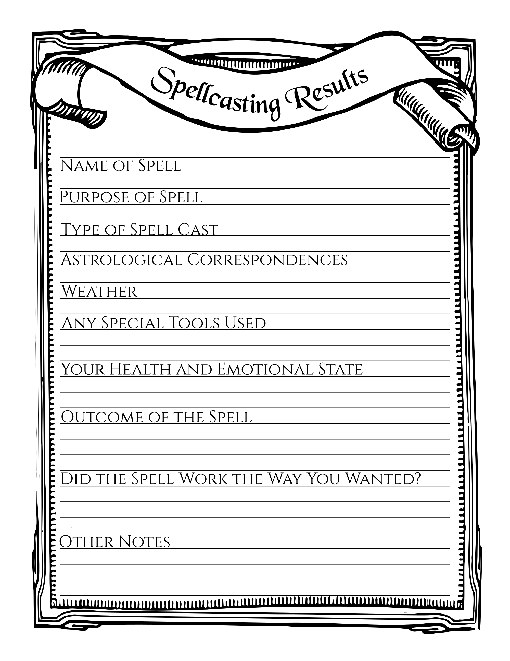 Spellcasting Results Printable Stationary Page Book Of