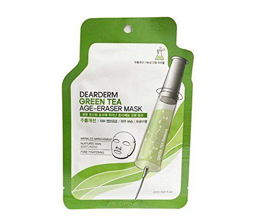 Dearderm Green Tea Age-Eraser Mask (1 Sheet) Basis Face Wash Cleaner Clean 6 oz (Pack of 6)