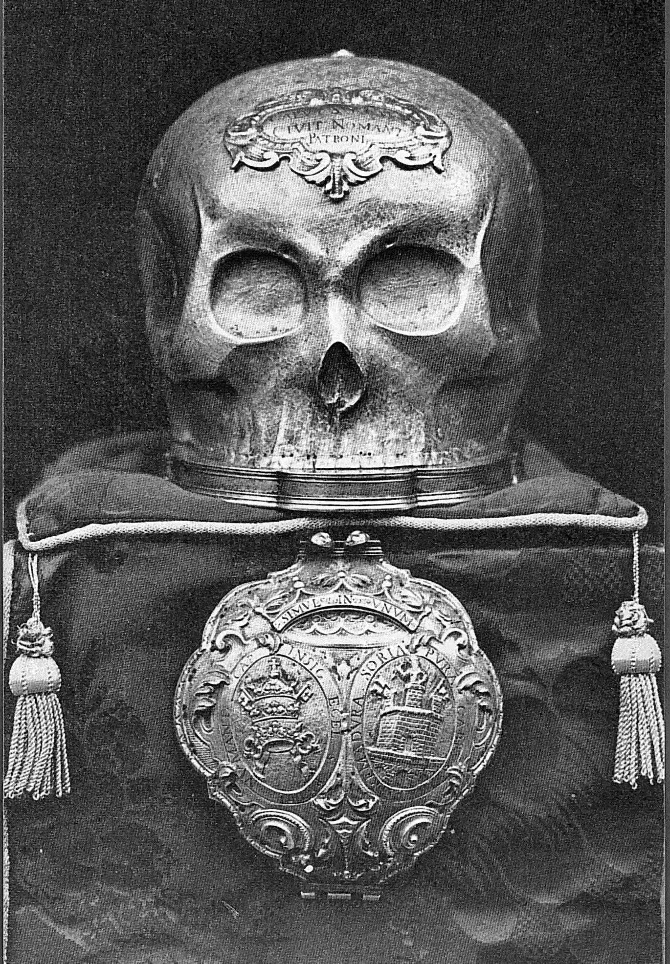 Cabeza de relicario de San Saturio que se conserva en la Catedral de San Pedro de Soria.