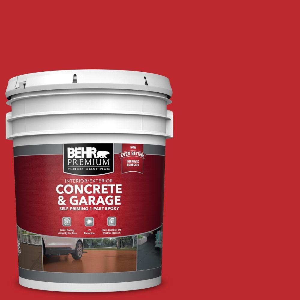 Behr Premium 5 Gal P150 7 Flirt Alert Self Priming 1 Part Epoxy Satin Interior Exterior Concrete And Garage Fl In 2020 Garage Floor Paint Painted Floors Garage Floor