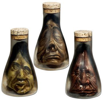 shrunken head in flask asst 1 count gothic home decor halloween decorations fright - Fright Catalog Halloween Decorations