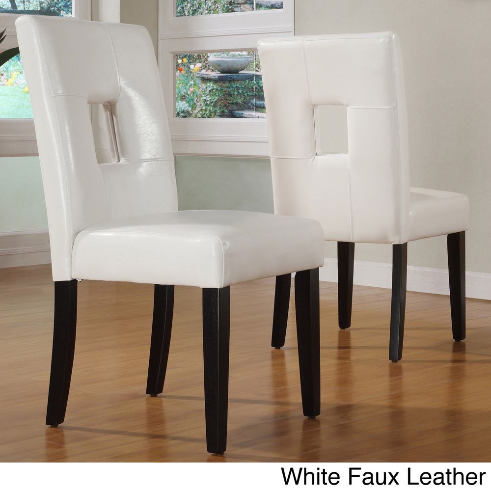 Inspire Q Mendoza Keyhole Back Dining Chairs (Set of 2) (Dark Brown Faux  Leather)