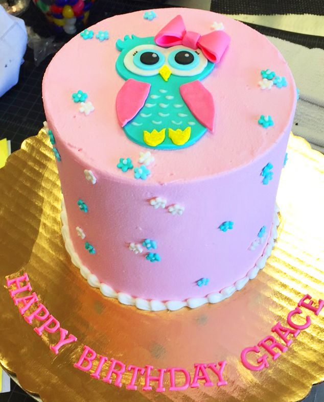 Cute Pink Owl Birthday Cake With Lovely Flowers On It