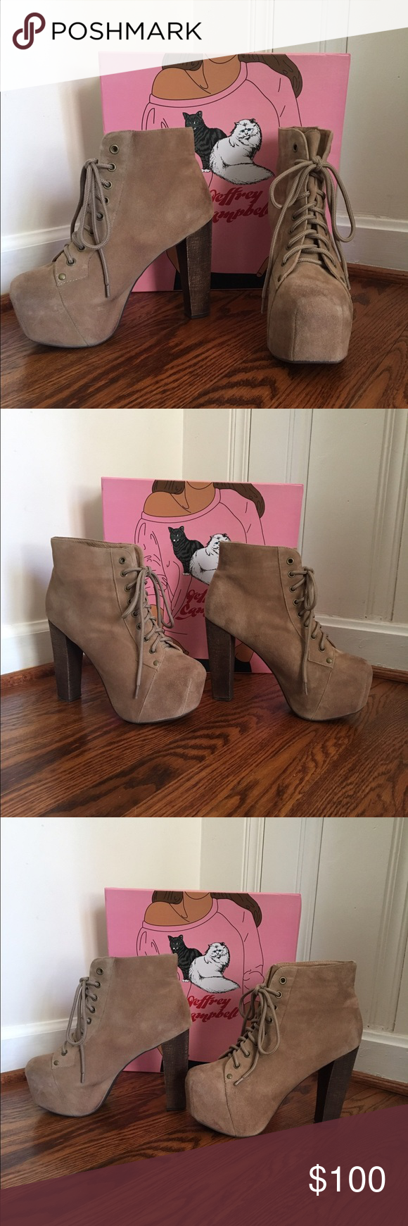 Jeffrey Campbell taupe suede Lita heels 8.5 Worn once. When I started taking the pictures I noticed that the back of the heel of the right shoe is slightly lighter than the left. It's not a scuff, look closely at the photo. Not noticeable unless you're looking for it. Jeffrey Campbell Shoes Platforms