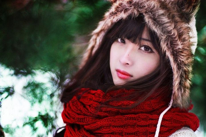 asian girl, winter wallpaper