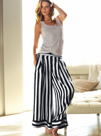 Women's Clothing Pink Victoria Secret Lounge Pants Women's Size Xs Black White Tribal Rich And Magnificent