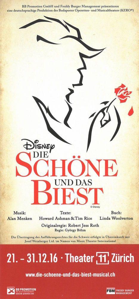 Die Schone Und Das Biest Musical Switzerland 2016 Original Flyer Die Schone Und Das Biest Musical Das Biest