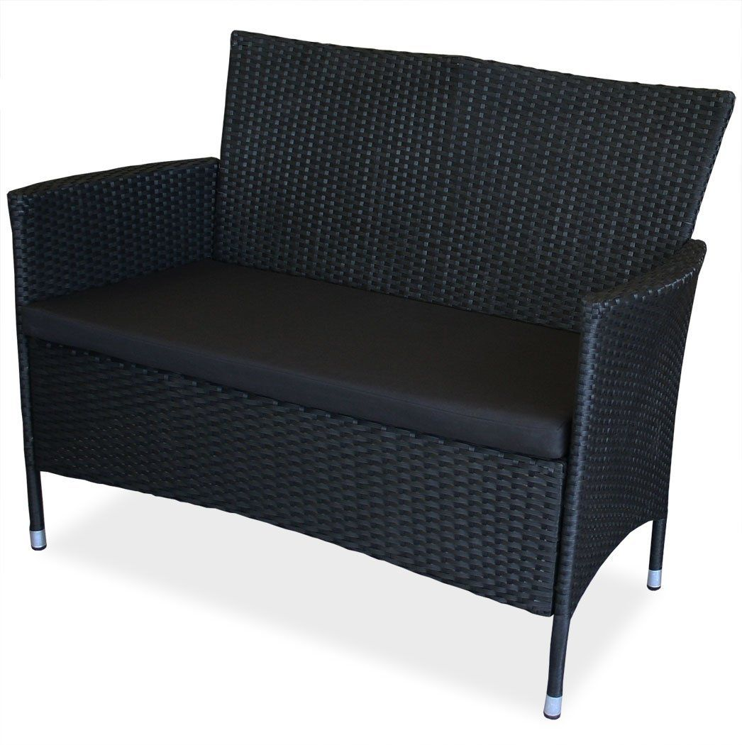 Gartenbank Polyrattan Schwarz 2 Sitzer Home Decor Furniture Couch