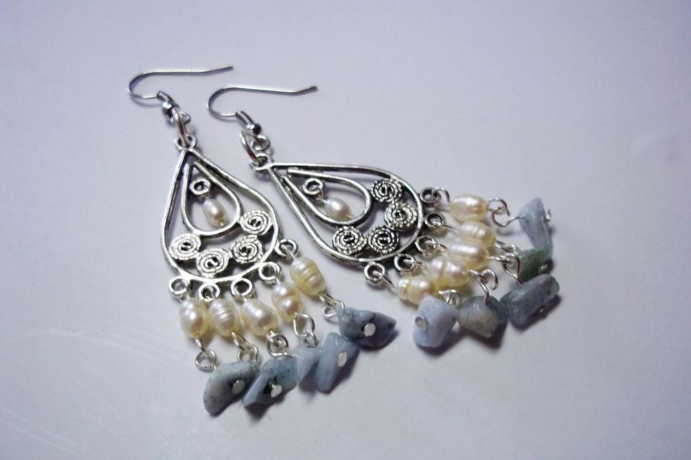 Earrings Natural Gemstone, Healing Crystal, Aquamarine, Pearl, Drop Hook #Chandelier