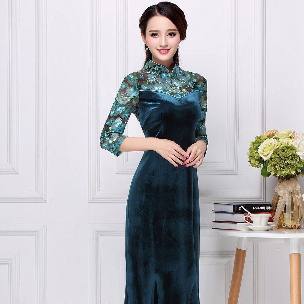 Appealing Velvet Long Cheongsam Qipao Chinese Dress Dresses Chinese Dress Chinese Dresses Qipao [ 1000 x 1000 Pixel ]