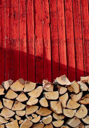 red and cut wood