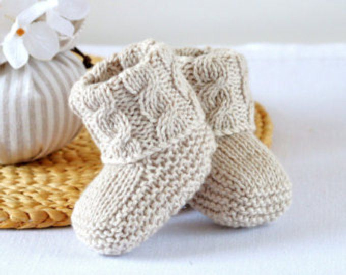Knitting Pattern Baby Booties Cable Aran Baby Shoes Quick And Easy