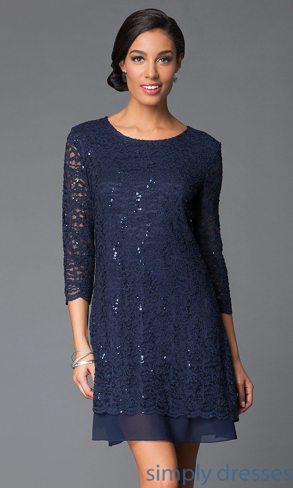 Shop Tiana B Three Quarter Sleeve Short Lace Dresses At