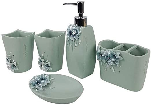 4 Colors Resin Bathroom Accessory Set Soap Dispenser Dish Toothbrush Mouth Cup