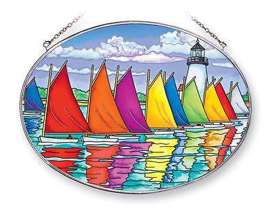 Suncatchers and Mobiles 20578: Amia Stained Glass Suncatcher 6.5 X 9 Oval Sailboats Rainbow Fleet #41254 -> BUY IT NOW ONLY: $31.5 on eBay!