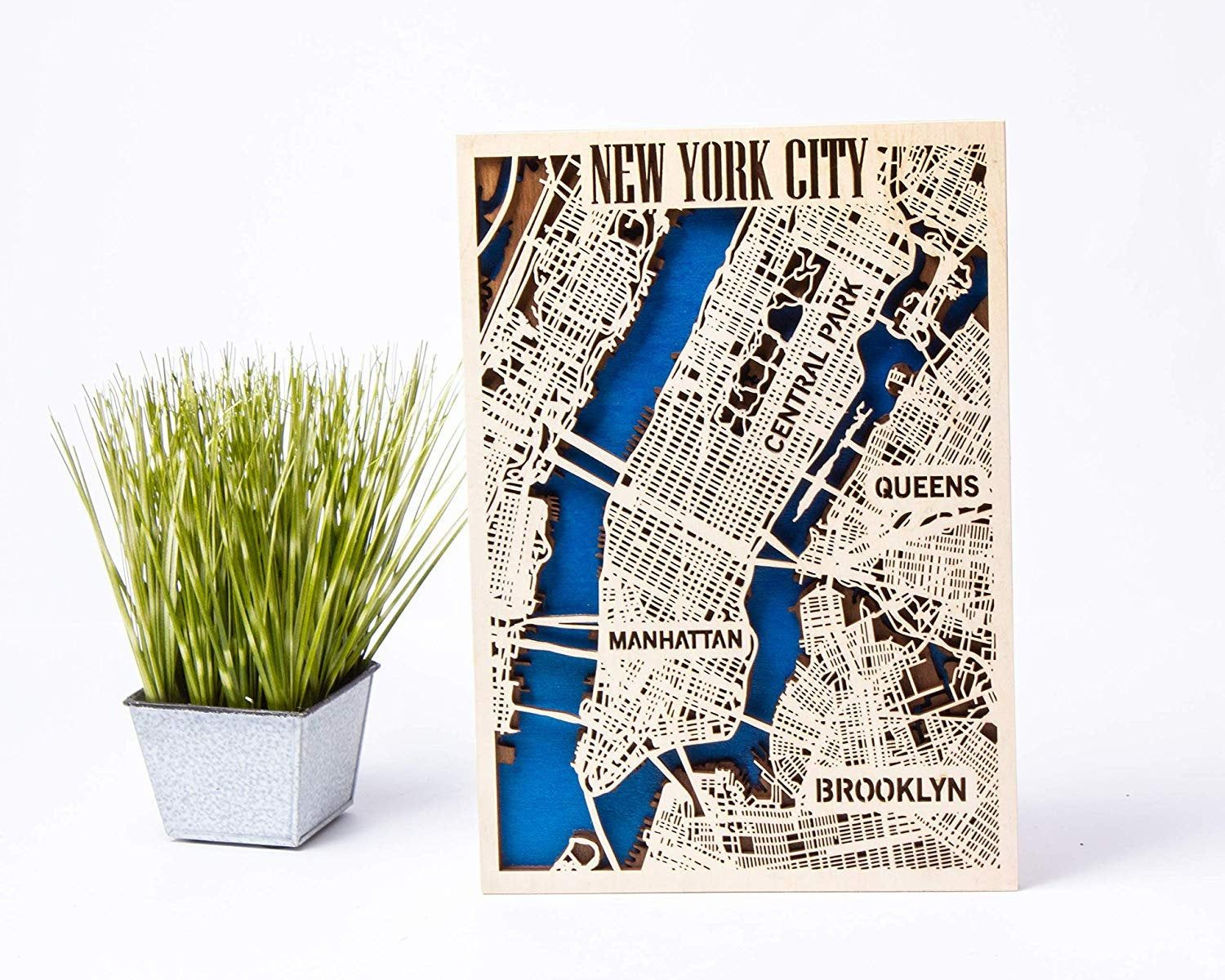 New York City 3D Wooden City Map Birthday Gift for Boy