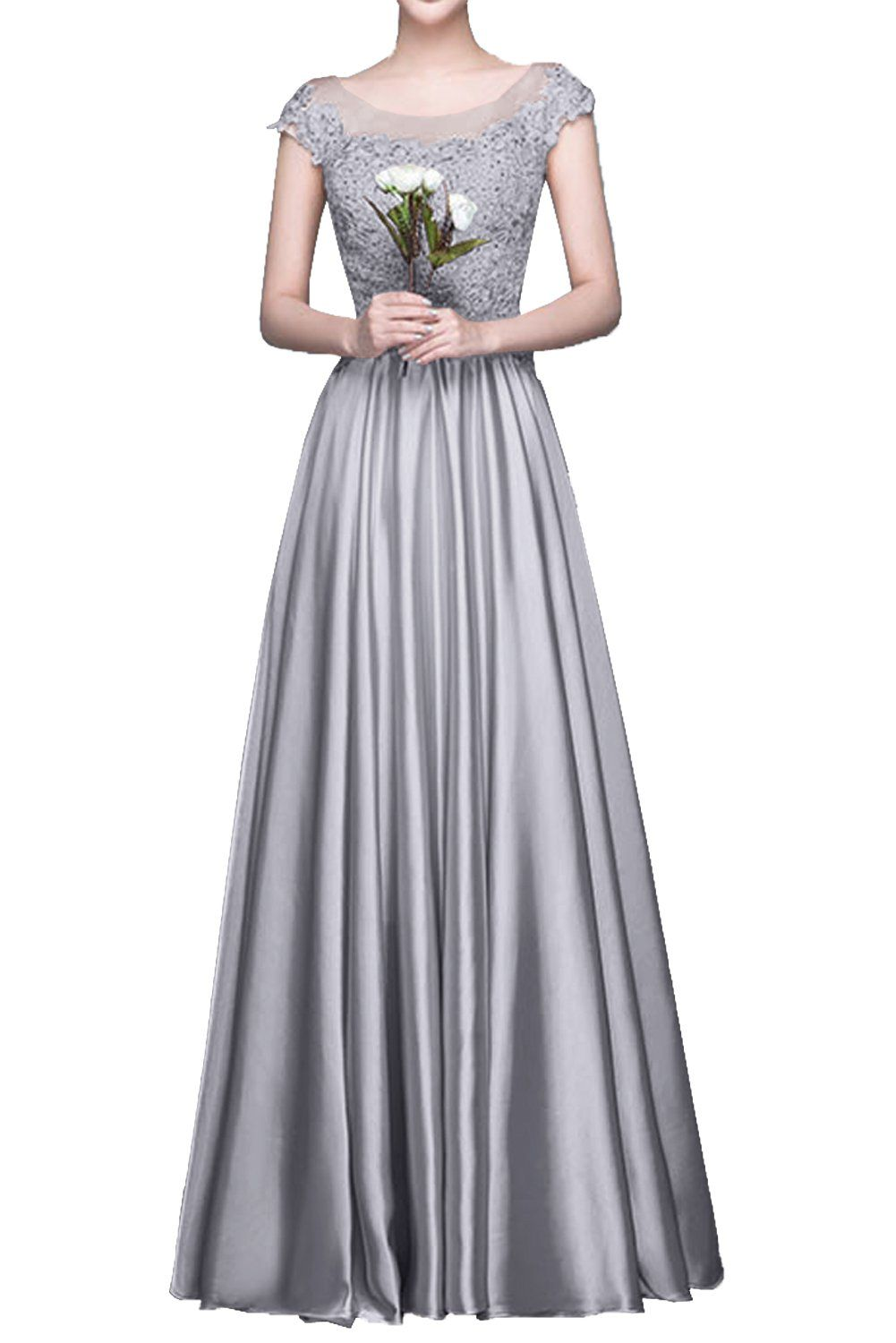 MILANO BRIDE Chic Prom Party Dress Bridesmaid Gown Long A-line Applique Modest-12-Grey