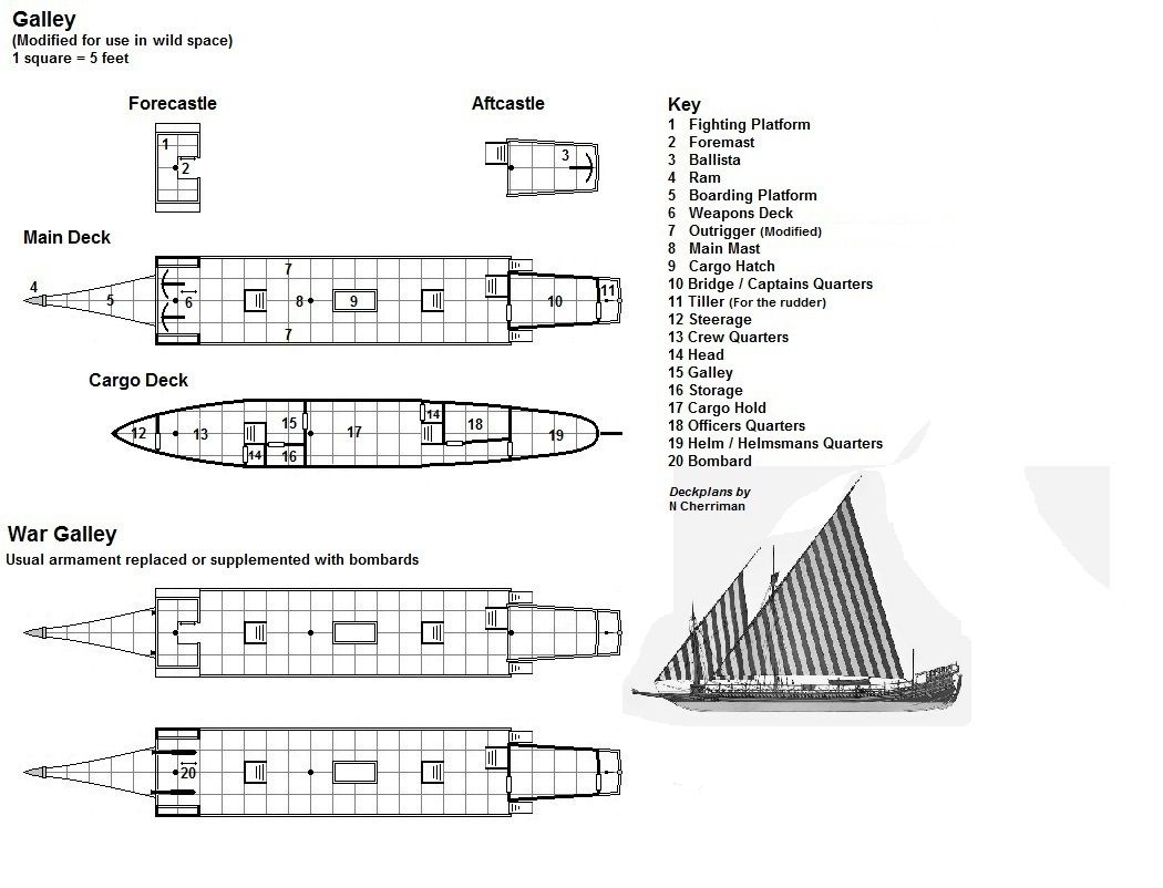 Galley Ship Map Deck Plans Dungeon Maps