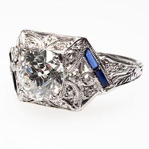 1920'S ART DECO ANTIQUE OLD EUROPEAN CUT DIAMOND ENGAGEMENT RING SOLID PLATINUM - $11,499