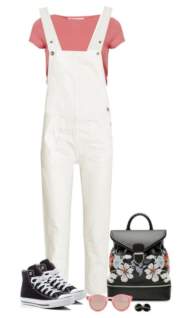 """""""Made of Stone."""" by tuomoon ❤ liked on Polyvore featuring Miss Selfridge, M.i.h Jeans, Alexander McQueen, Converse, Le Specs, TrickyTrend and overalls"""