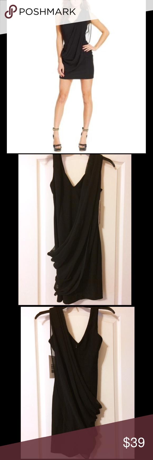 Emerald sundae black draped chiffon bodycon dress nwt pinterest