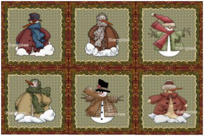 SNOWMEN COLLECTION MACHINE EMBROIDERY DESIGNS ON CD OR USB PLUSH PALS