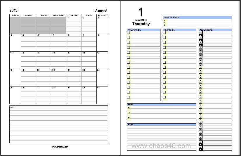 Appointment Calendar Templates Daily Project Organizer Templates