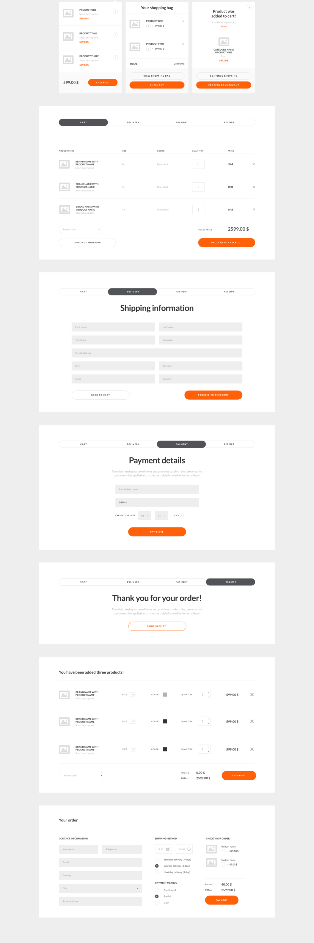 UI8 - Checkout process - Wireframes