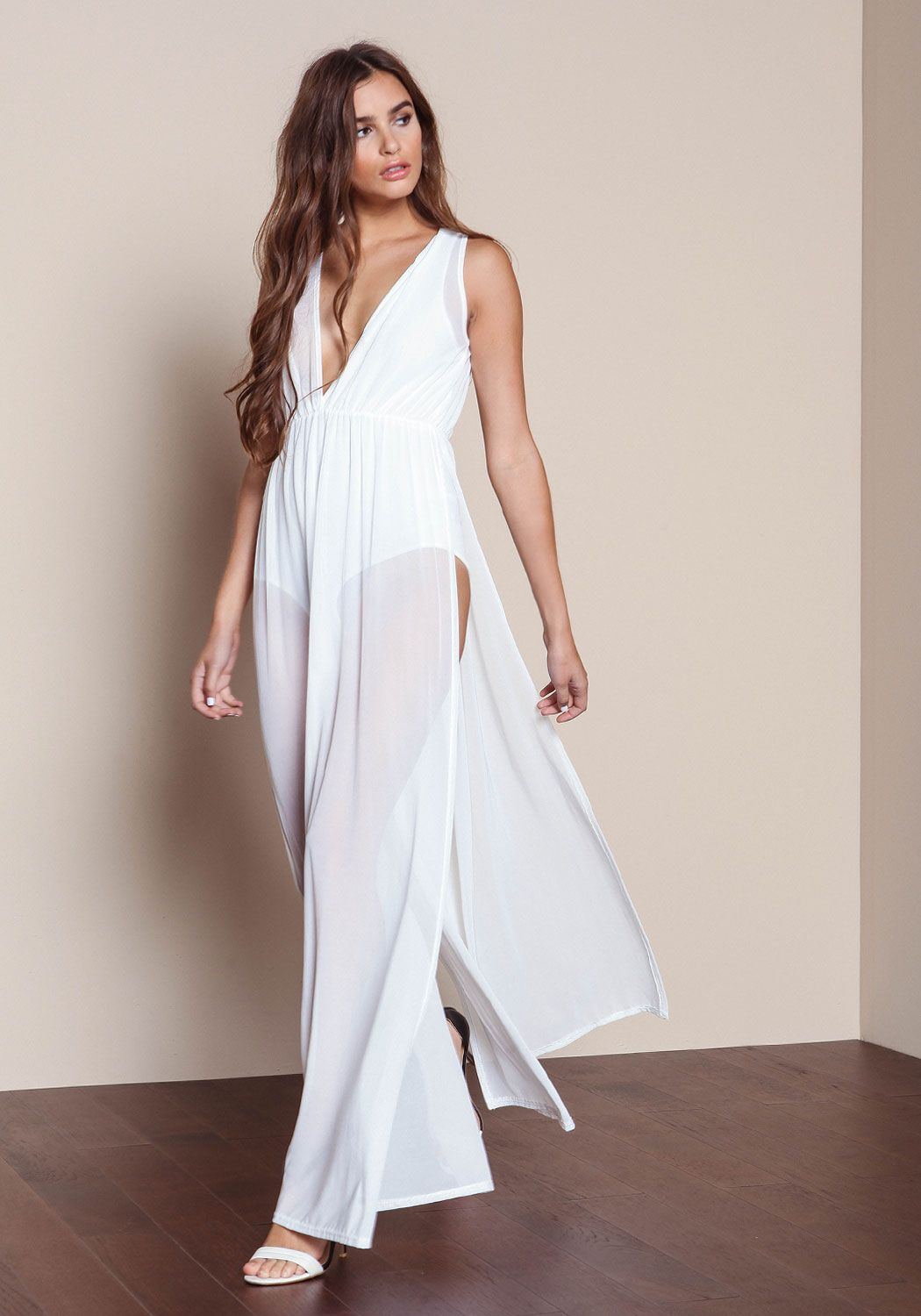 White Sleeveless Bodysuit Mesh Maxi Dress - Love Culture ... e96e2f84f