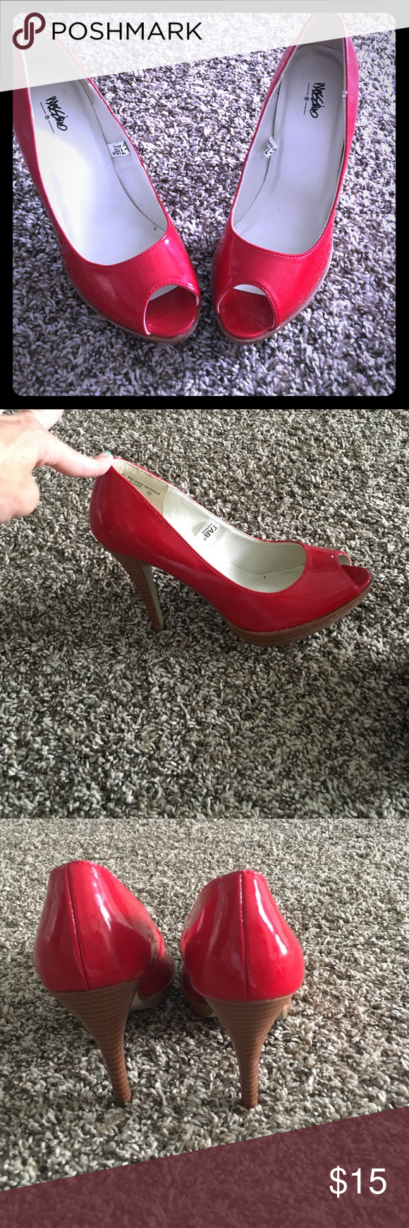 Super sassy and sexy red peep toes! Sext fun peep toe heels Mossimo Supply Co Shoes Heels