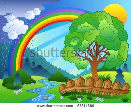 Landscape With Rainbow And Tree Vector Illustration Scenery Drawing For Kids Kids Nursery Art Rainbow Tree