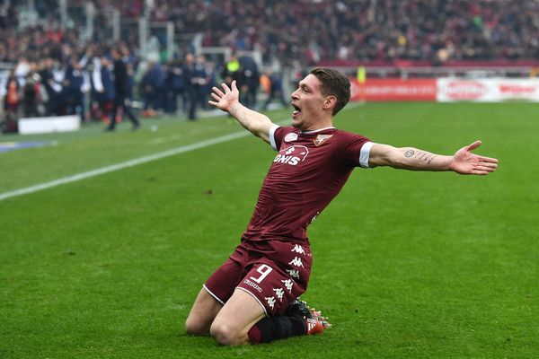 Andrea Belotti of FC Torino celebrates after scoring the opening goal during the Serie A match between FC Torino and Juventus FC at Stadio Olimpico di Torino on December 11, 2016 in Turin, Italy.