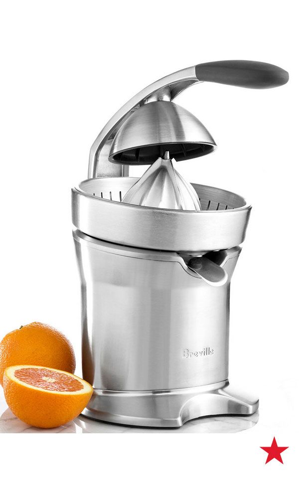 Combining a traditional hand press with modern motorized technology, this Breville juicer makes grabbing a glass of freshly squeezed juice quick and easy—shop now!