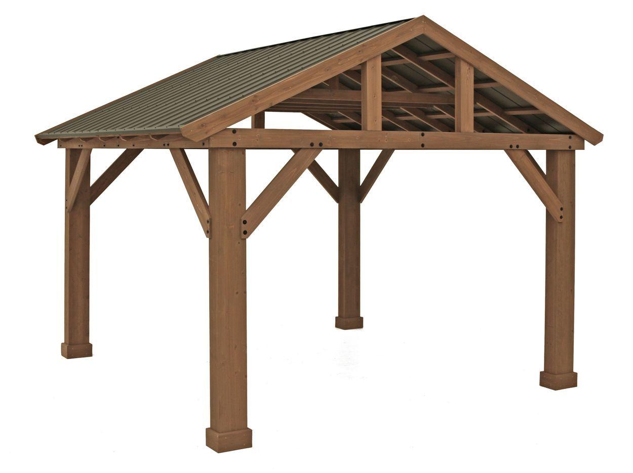 14' x 12' Cedar Pavilion with Aluminum Roof in 2020 ...