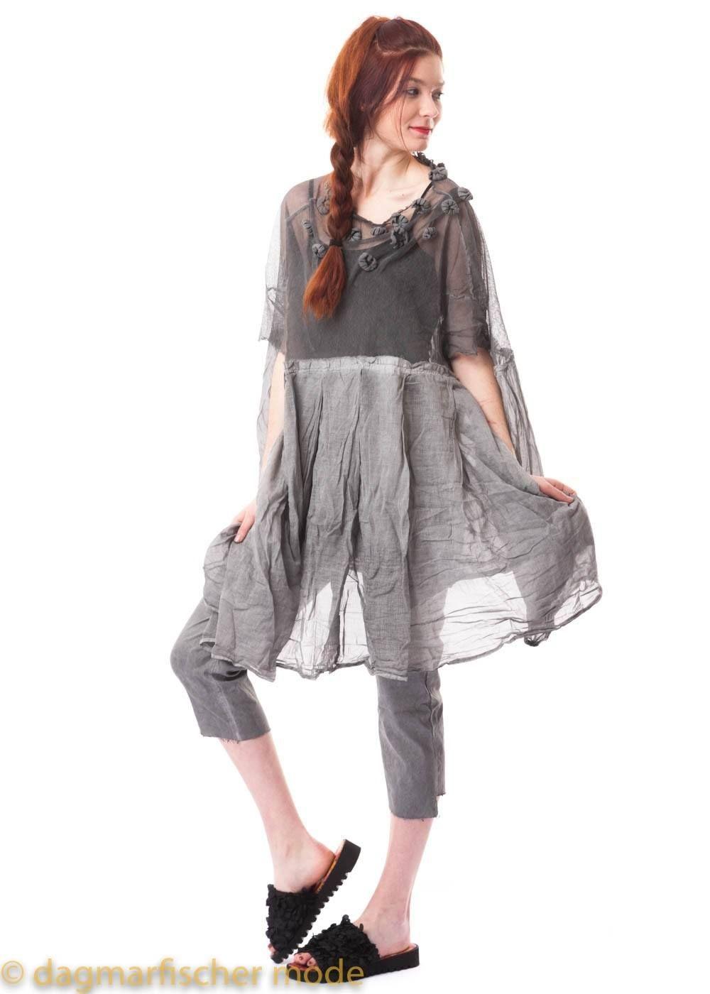 Onesize Kleid mit floralen Applikationen in black und coal ...