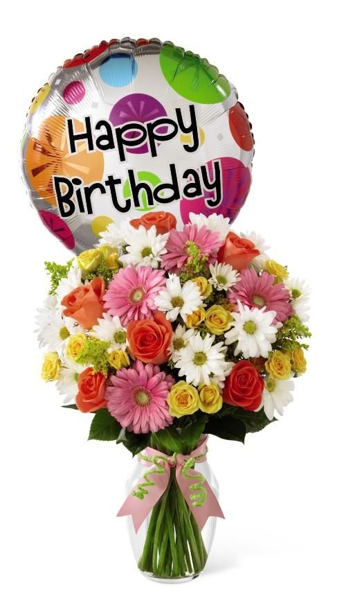 Birthday Flower Bouquet With Balloon At Grower Direct Flowers Birthday Cheers Happy Birthday Pictures Happy Birthday Flower