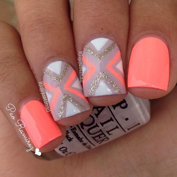Neon Orange Nail Design for Short Nails | Nailed it. | Pinterest ...
